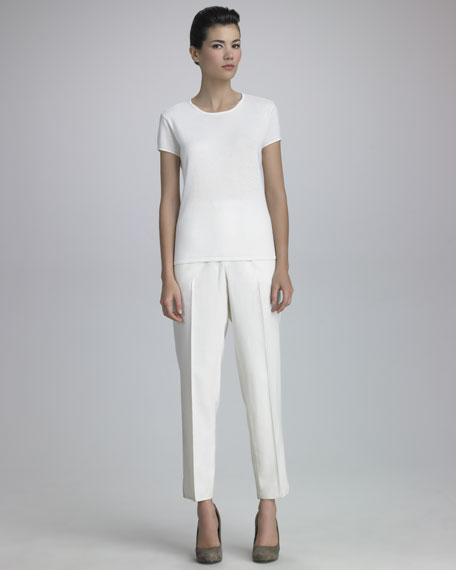Narrow Tropical Wool Pants, Ivory