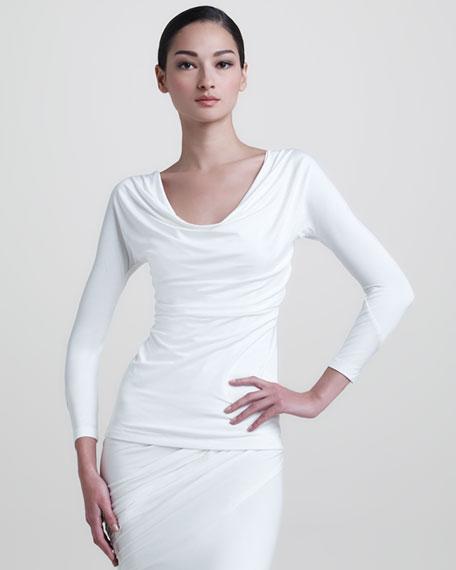 Jersey Draped Top, White
