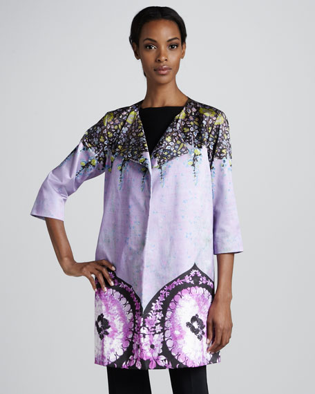 Tie-Belted Printed Caban Jacket
