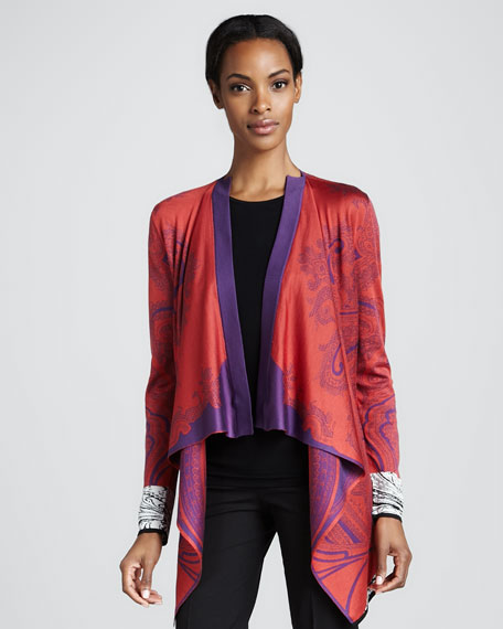 Printed Cascade-Front Cardigan