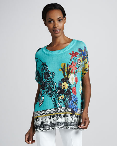 Floral-Print Knit Tunic