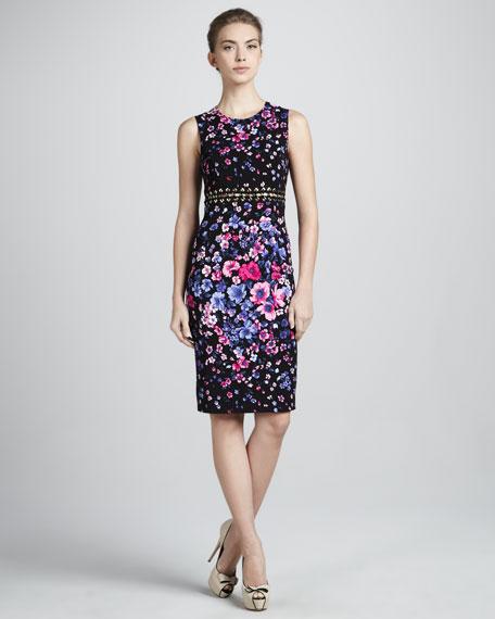 Cutout-Waist Floral Dress