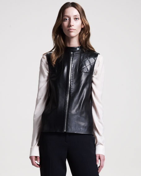 Snap-Front Leather Vest