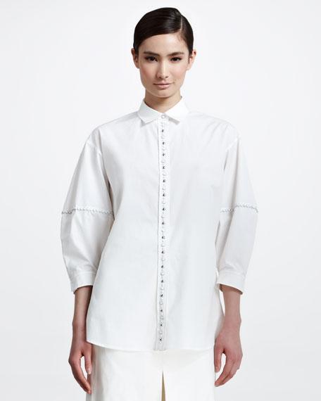 Stud-Button Poplin Blouse, White