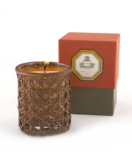 Golden Pomegranate Woven Cane Candle