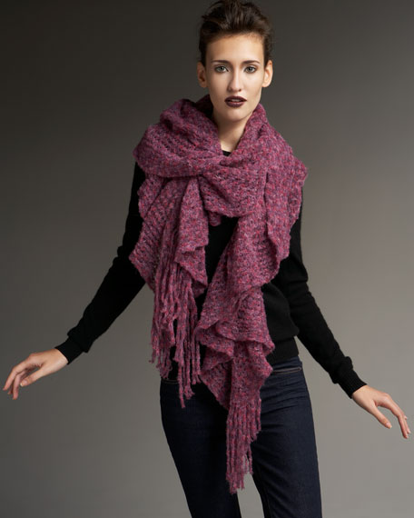 Soft Double-Ruffle Scarf, Pink