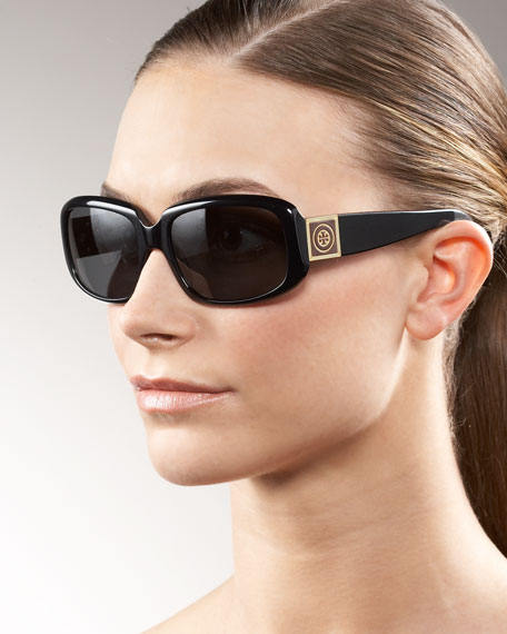Rectangular Square-Logo Sunglasses