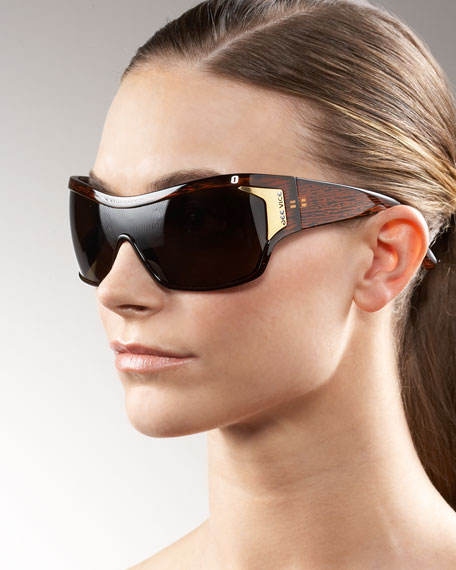 Wide-Armed Shield Sunglasses