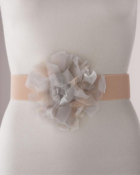 Elastic Tulle-Flower Belt