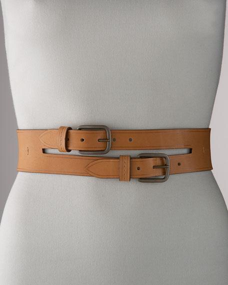 Leather Double-Buckle Belt, Wide
