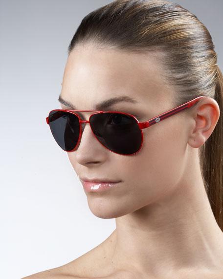 Logo-Stripe Aviator Sunglasses, Red/Green