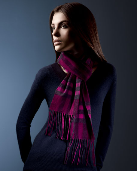 Giant Check Skinny Cashmere Scarf, Pink