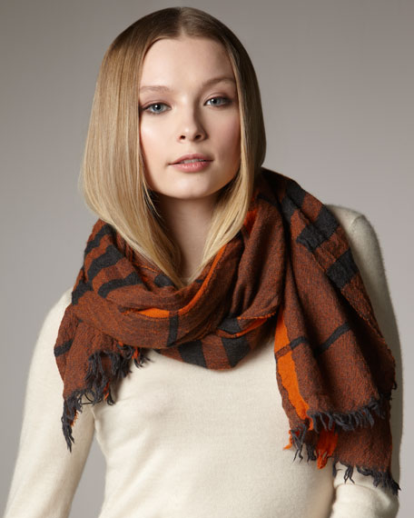 Exploded Check Scarf, Tangerine