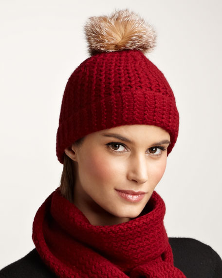 Cashmere Fur Pompom Hat