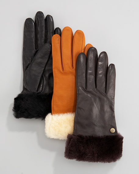 Leather & Shearling Fur Gloves