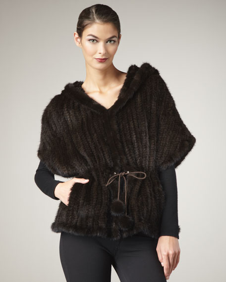 Drawstring Mink Fur Cape