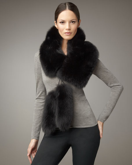 Fox Fur Stole, Black