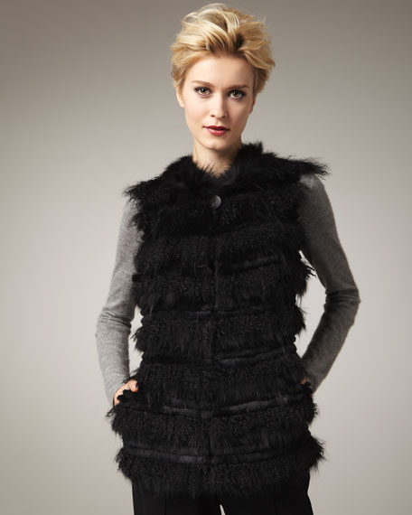 Tiered Fur Vest, Black