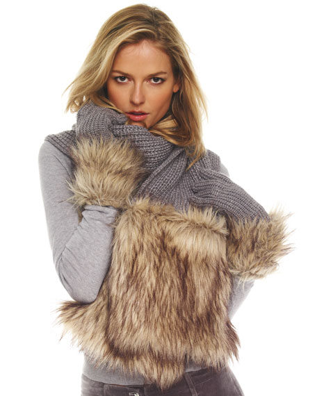 Faux-Fur Pocketed Scarf