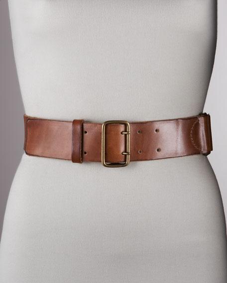 """Vintage-Washed Leather Belt, 2""""W."""