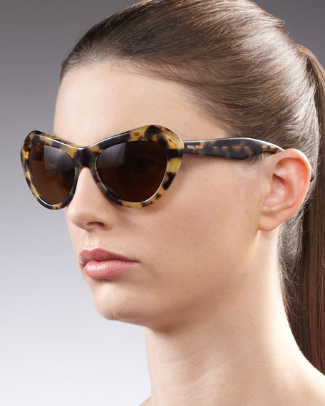 Vintage Cat Eye Matte Sunglasses, Brown
