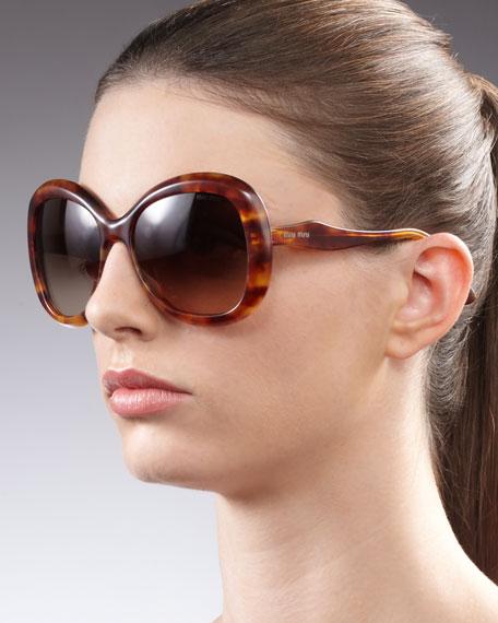 Round Glam Sunglasses, Brown Glitter