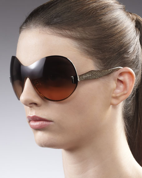 P-Rounded Shield Sunglasses, Gold