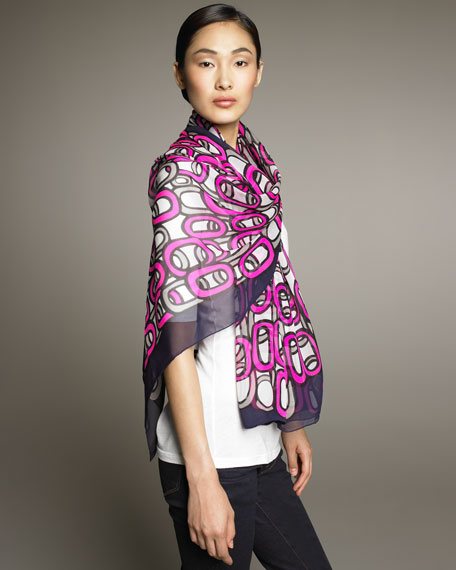 Loop-Print Chiffon Stole, Purple