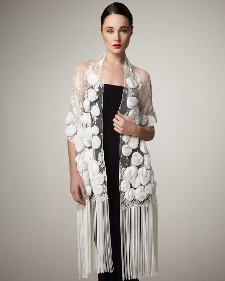 Rosette Lace Shawl, White