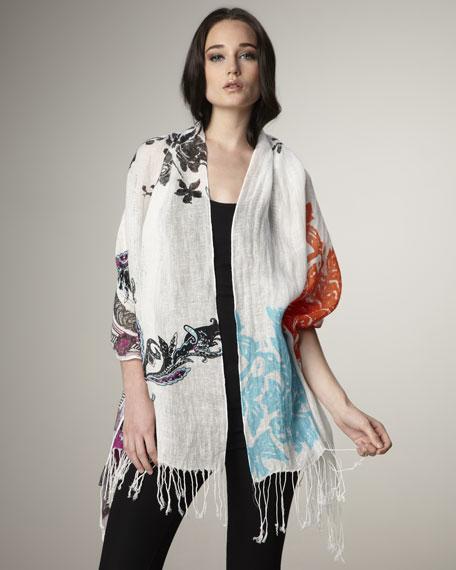 Floral-Print Linen Stole
