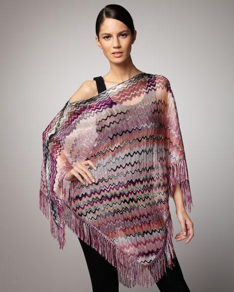 Zigzag Knit Poncho, Pink