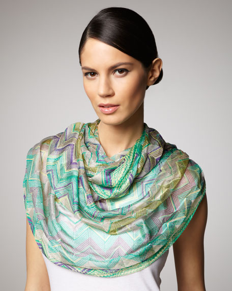 Zigzag Knit Infinity Scarf