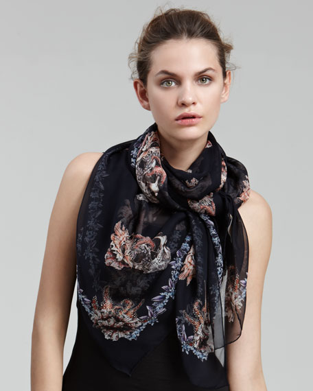 Shell and Skull-Print Scarf
