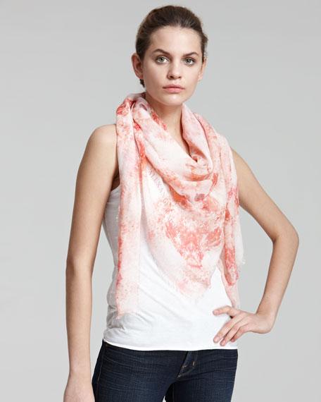 Anemone & Skull-Print Silk Scarf