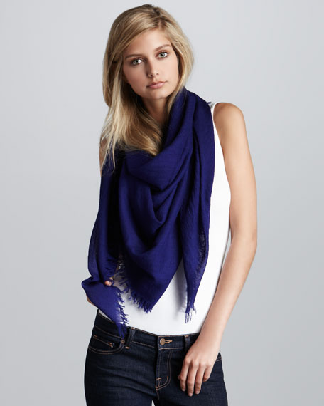 Lightweight Cashmere Square Scarf, Royal
