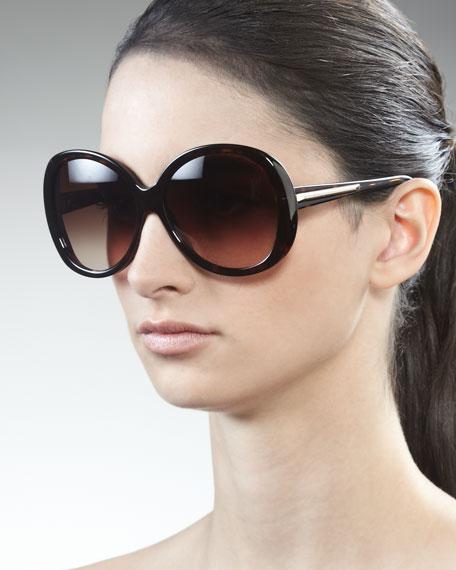 Rounded Resin Sunglasses, Dark Havana