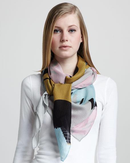 Floral-Burst Silk Scarf