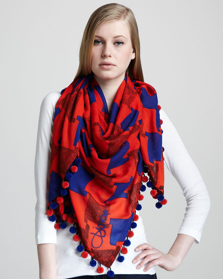 Rochelle Check Pompom Scarf, Red/Blue