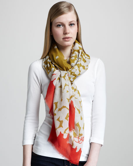 Dripping Paint-Print Scarf
