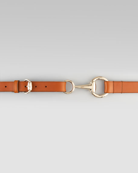 Adjustable Leather Horsebit Belt