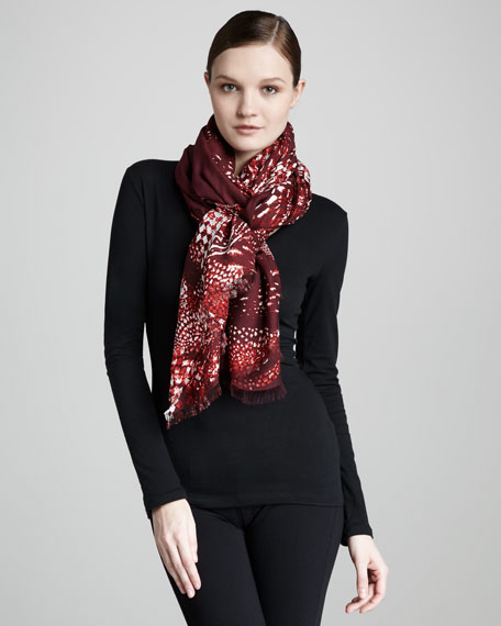Abstract Houndstooth Scarf, Ruby/Garnet