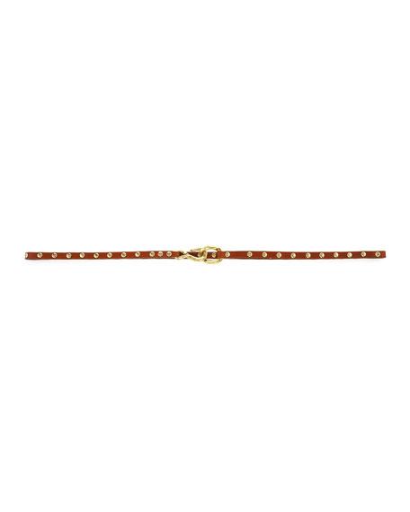 Alana Skinny Stud-Trim Belt, Cognac
