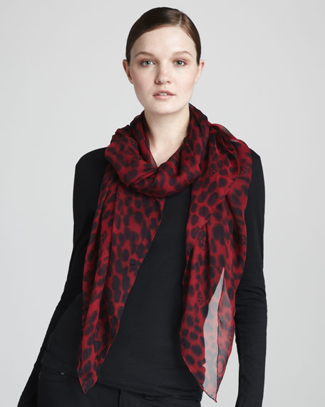 Leopard-Print & Skull Scarf, Red/Black