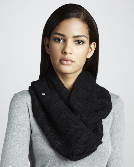Cable-Knit Infinity Scarf, Black