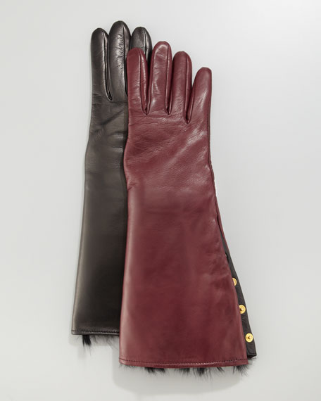 Rabbit Fur-Lined Snap Gloves