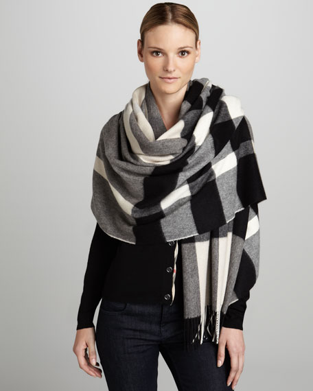 31a80f42538 ... uk burberry mega check cashmere scarf charcoal cb754 7415f