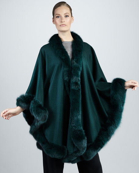 Fox Fur-Trimmed Cashmere U-Cape, Green