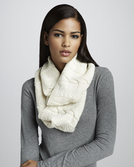 Cable-Knit Infinity Scarf, Cream