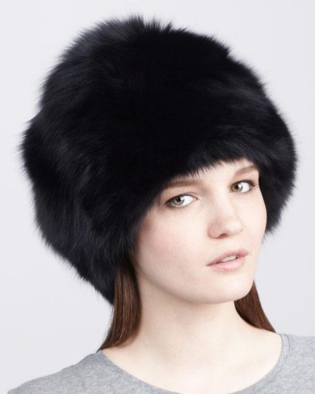 Rachel Zoe Fox Fur Hat, Black