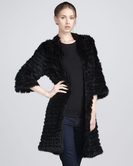 Knitted Rabbit Fur Coat, Black